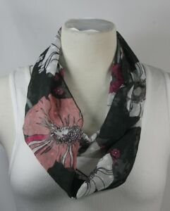 Infinity-scarf-black-theme-solid-or-floral-or-polka-dots-chiffon-handmade
