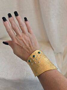 NEW-ALEXIS-BITTAR-Gold-TONE-CUFF-Bracelet-Crystals-amp-Blue-Turquoise-Accents-3-034
