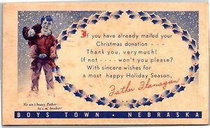 Boys-Town-Christmas-Fund-Raising-Solicitation-Father-Flanagan-Vtg-Postcard-I05