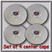 Set 4 Chrome Cadillac Deville Wheel Center Caps 1996-1997 Replica Hubcaps