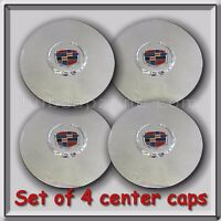 Set 4 Chrome Cadillac Deville Wheel Center Caps 1995-1999 Replica Hubcaps