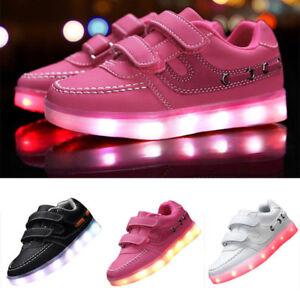 bbe037eecfcdf Kids Boys Girls USB Charging Light Up Shoes Sports LED Shoes Dancing ...