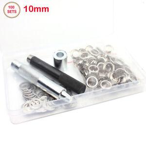 100-Osen-mit-Scheiben-Ose-silber-10-mm-Knoepfe-Osen-Nieten-Lochstanz-werkzeug
