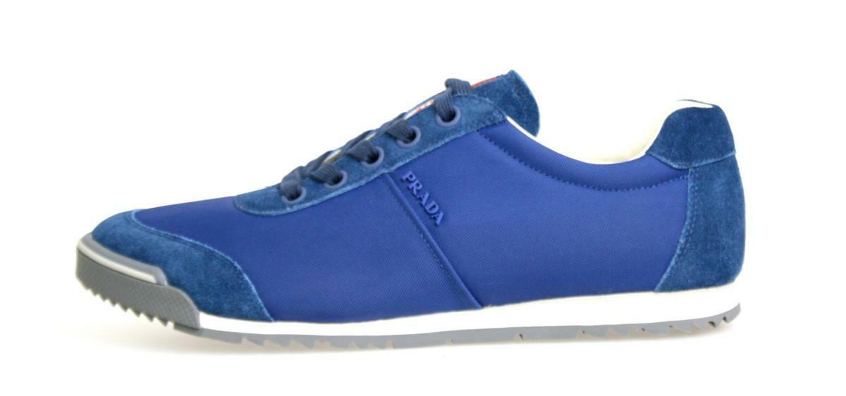 AUTHENTIC LUXURY PRADA SNEAKERS SHOES 4E2834 BLUE BLUE BLUE NEW US 7 EU 40 40,5 e5d1c7