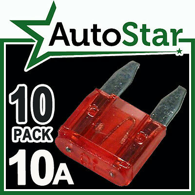 10 Amp Mini hoja fusibles X 10 Apm Atm Automotriz Fusible-Pack De 10a 10amp un coche