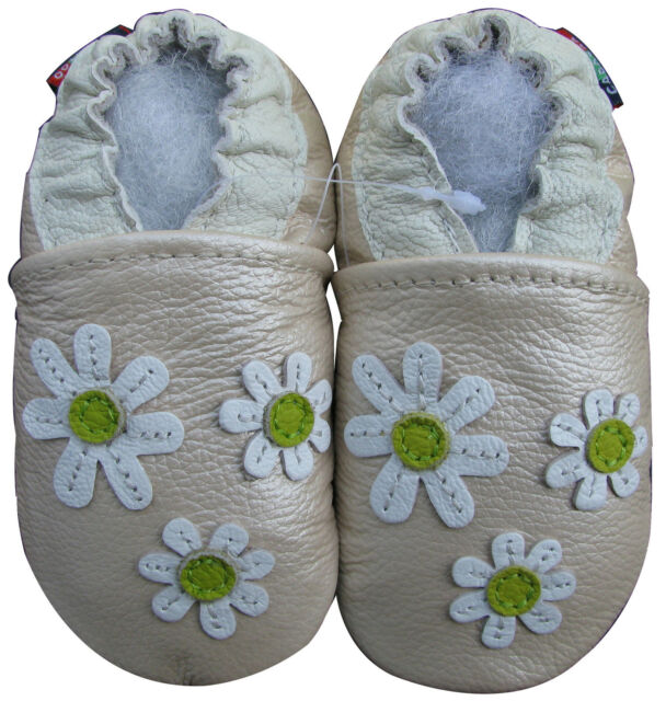 carozoo 3 flowers pearl 2-3y new soft leather toddler shoes