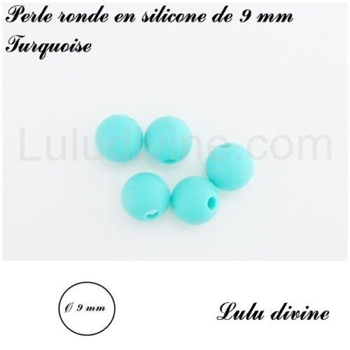 lot de 10 perles Perle ronde en silicone de 9 mm Turquoise
