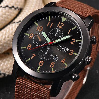 Fashion Men's Stainless Steel Date Quartz Sport Wrist Watch Waterproof Watches by Unbranded