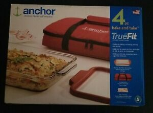 Anchor-Hocking-True-Fit-4pc-Bake-And-Take-Glass-Baking-Dish-Insulated-Tote