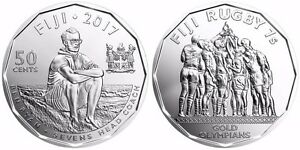 Image Is Loading Fiji 2017 50 Cents Commemorative Coin Rugby 7s