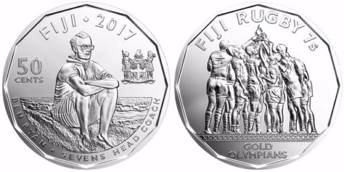 1 Pc UNC Fiji 2017 50 Cents Commemorative Coin Rugby 7s 2016 Gold Olympians