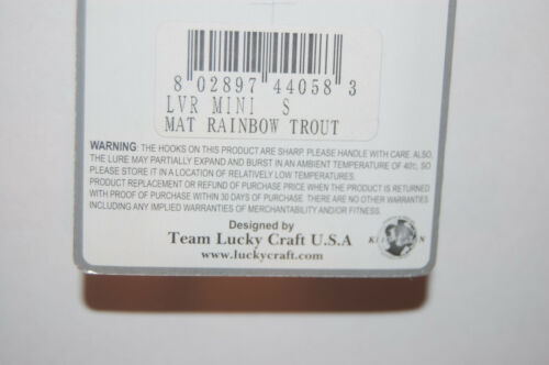 """lucky craft lvr mini weed cutter sinking 2 1//4/"""" 1//4oz mat rainbow trout"""