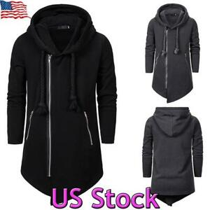 US-Men-Hooded-Long-Cardigan-Ninja-Sweater-Goth-Trench-Coat-Zip-Up-Jacket-Outwear
