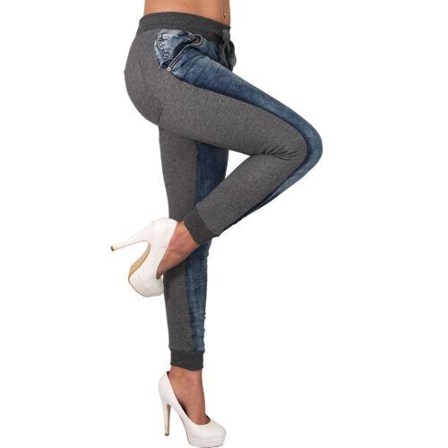 Grau Strick Bund Stoff Stretch Jogging Hose Washed Damen Jeans Zweifarbig Blau
