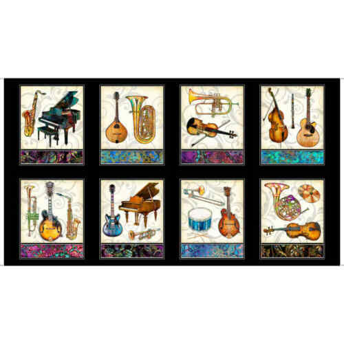 Fining Tuning Fabric Panel Musical Instruments by Dan Morris Premium Cotton QT