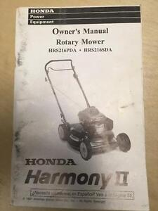 honda lawn mower owner manual for the hrs216pda hrs216sda harmony ii rh ebay co uk honda lawn mower owner's manual honda hr194 lawn mower owner's manual