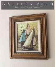 GORGEOUS MID CENTURY SEASCAPE BOAT SHIP OIL PAINTING! Vtg 50's Art Sailing Eames