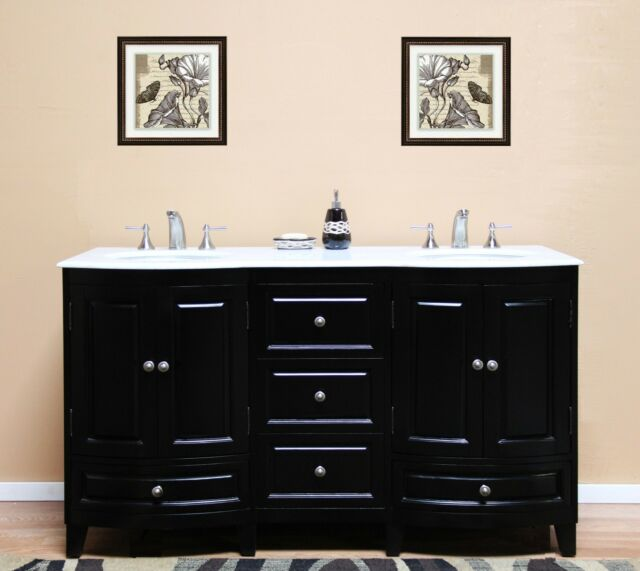 60 Inch Marble Top Double Sink Rustic Bathroom Vanity With Matching Daul Wall For Sale Online Ebay