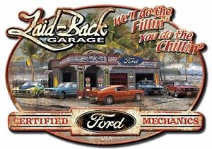 New Ford Mustang Dream Garage Mechanic Hot Rod Man Cave Bar Embossed Metal Sign