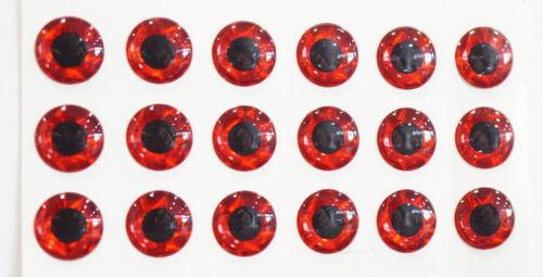 Augen Ø11mm 20 Stück 3D ROT selbstklebend Larva Lace USA Molded Lure Eyes 3D ROT