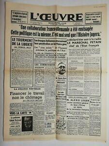 N716-La-Une-Du-Journal-L-039-uvre-31-octobre-1940-collaboration-franco-allemande