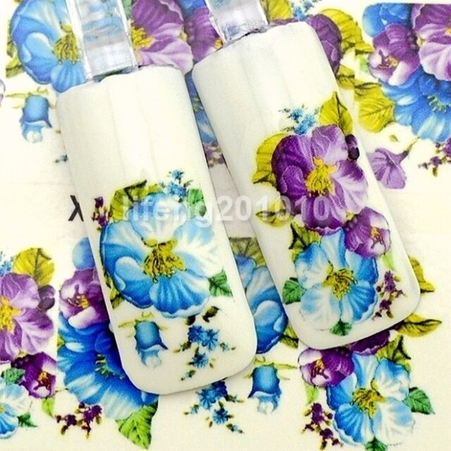 Flower design Water transfer Nail art polish stickers decals Decoration Tool 377