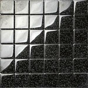Image Is Loading Black Glitter Glass Mosaic Wall Tiles Bathroom Shower  Good Ideas