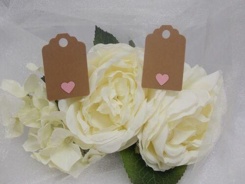 15 Handmade Small Gift Tags avec option Heart Designs 100/% recyclé Carte