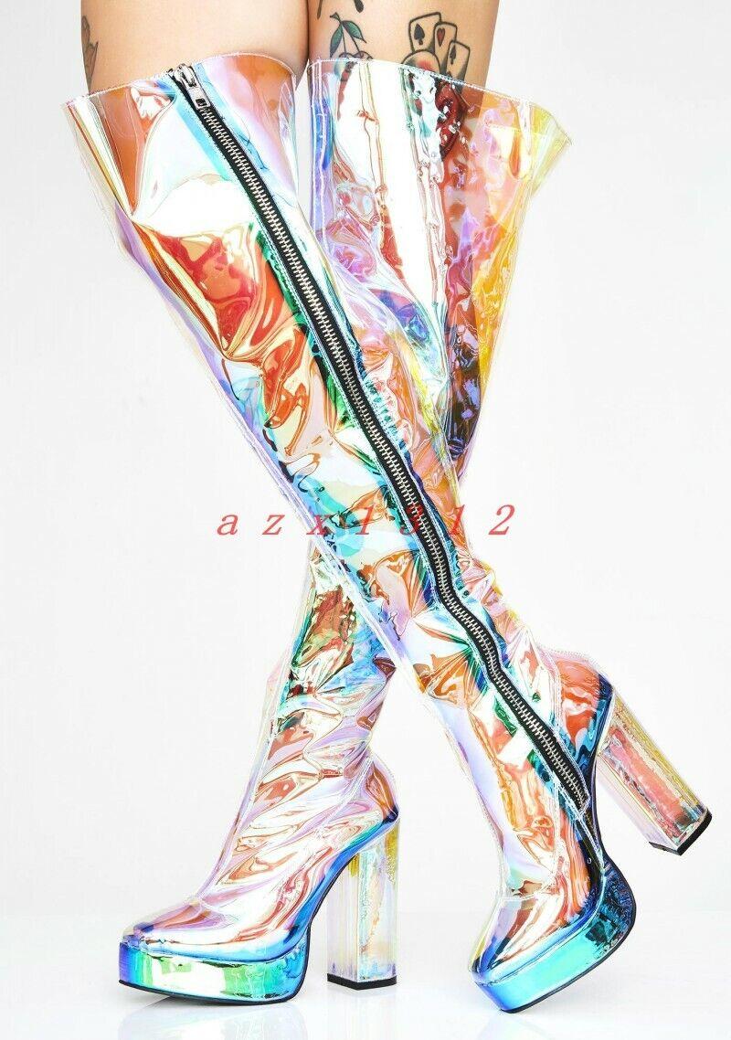 Nuova lista donna Round Toe High Block Heel Zip Over Knee Knee Knee avvio scarpe Platform Shiny Party New  vendita online risparmia il 70%