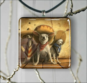 DOGS-3-MEXICAN-CHIHUAHUA-BANDIDOS-PENDANT-NECKLACE-3-SIZES-CHOICE-dgr5Z
