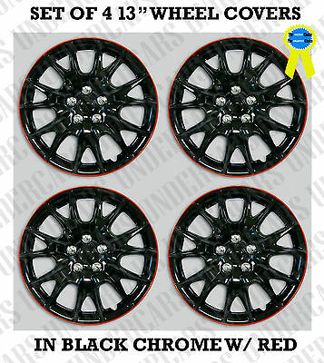 "SET OF 4 13"" Hub Caps Full Wheel Covers Rim Cap Lug Cover Hubs BLACK CHROME RED"