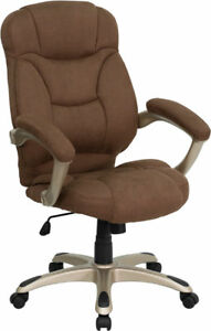 Bon Image Is Loading BROWN MICROFIBER FABRIC COMPUTER OFFICE DESK CHAIR