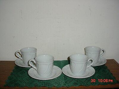 "8-PIECE NORITAKE ""CENTENNIAL WHITE"" COFFEE CUP & SAUCER SET/#8679/CLEARANCE!"