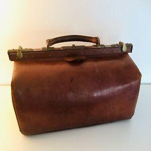 Antica-borsa-da-medico-primo-900-ottone-e-vera-pelle-vintage-Old-Doctor-bag