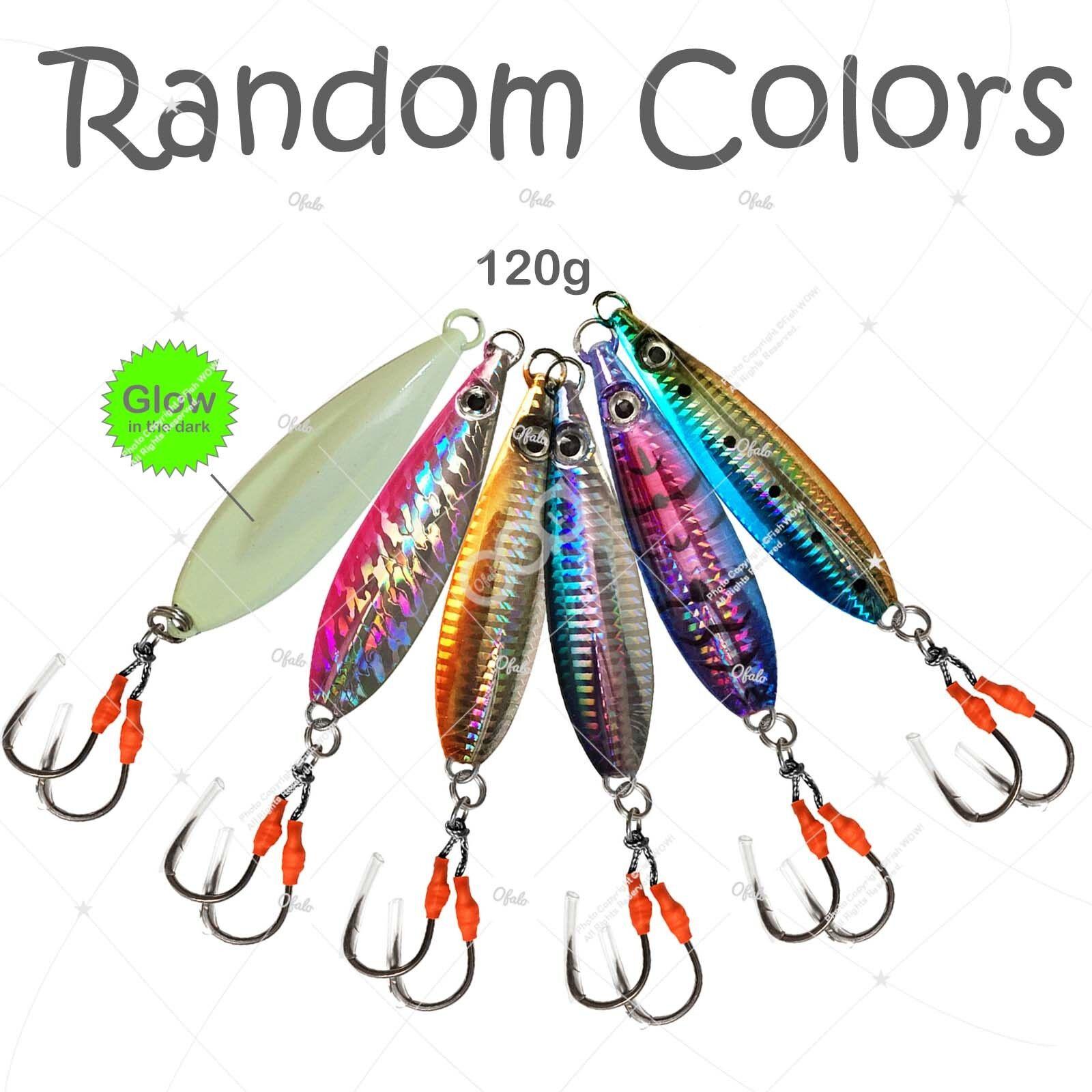 5pcs 120g Fishing Flat Fish Jig 4.2oz Speed greenical Metal Lure jig Random color