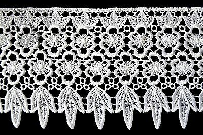 """Unotrim 4.25"""" White Venice Giupure Floral Lace Trims Flower Trimming By Yardage"""