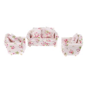 1-12-Dollhouse-Miniature-Lounge-Furniture-Sofa-floreale-Settee-Cuscini-Rosa