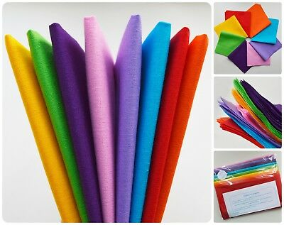 RAINBOW FABRIC BUNDLE 8 solid plain colours 100/% cotton crafting bunting sewing