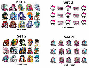 30 Monster High Nail Art Stickers Water Transfers Skull