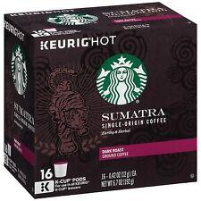 Starbucks Sumatra Dark Roast Coffee 128 Cups K Cup Pods for Keurig Brewer
