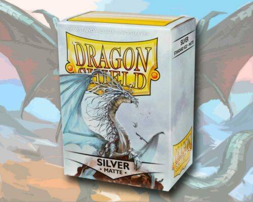 100 Dragon Shield Card Sleeves Karten Hüllen Standard Size Matte Silver Silber
