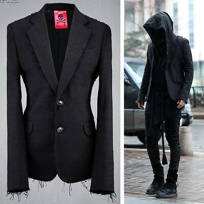 ByTheR Men's Fashion Black Bold Gauze Two Button Vintage Jacket  P000BIOM AU