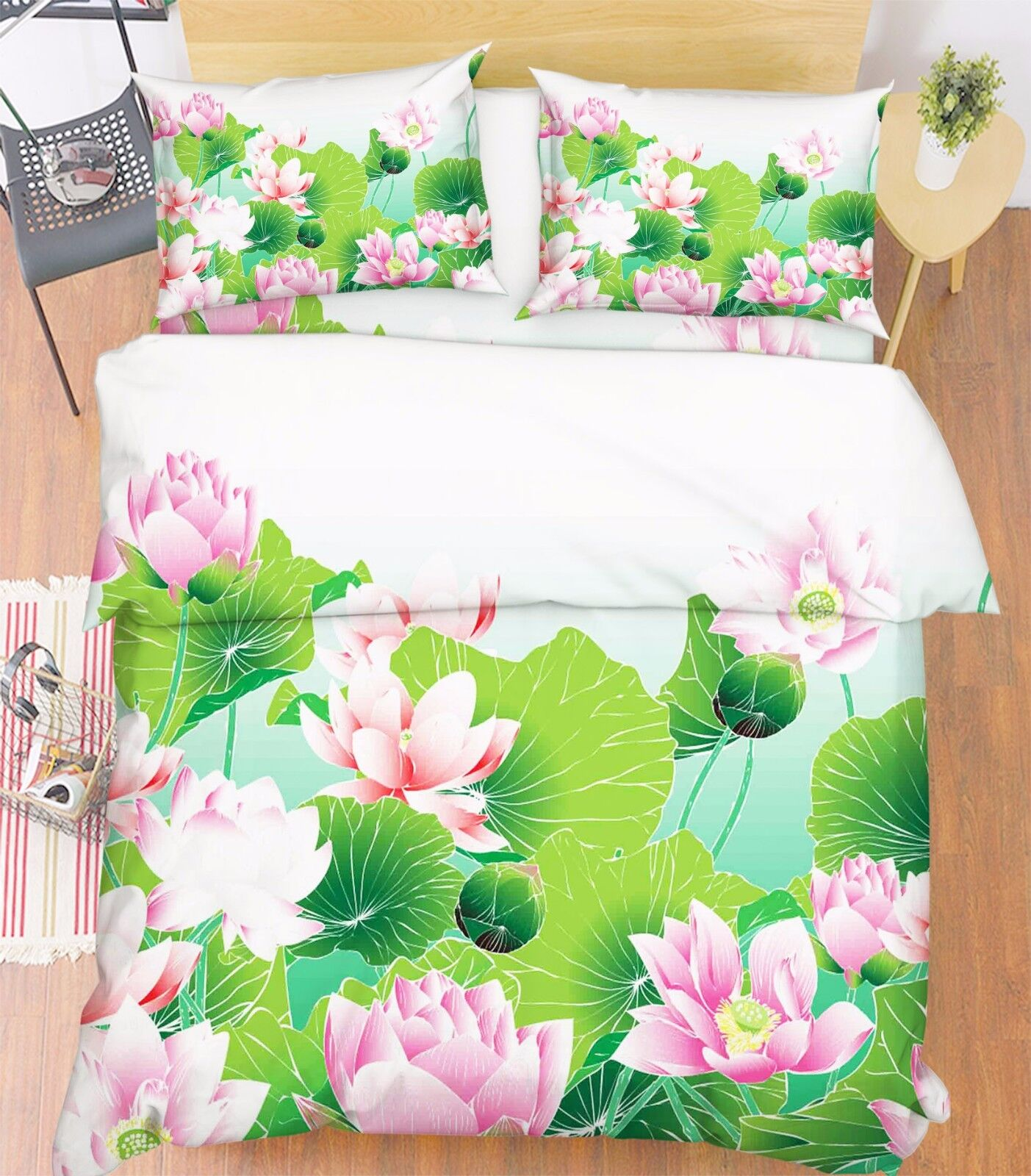 3D Lotus Pool 886 Bed Pillowcases Quilt Duvet Cover Set Single Queen UK Kyra