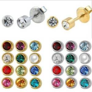 a0cc8ba77 Image is loading 4mm-Studex-Ear-Piercing-Stainless-Steel-Stud-Earrings-