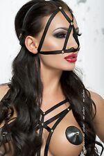 Harness Schwarz Kopfharness Kopfmaske Kopfschmuck Accessoire Black Mask OneSize