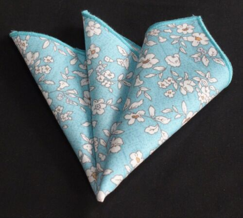 Hankie Pocket Square Cotton Handkerchief Blue with White Floral CH258