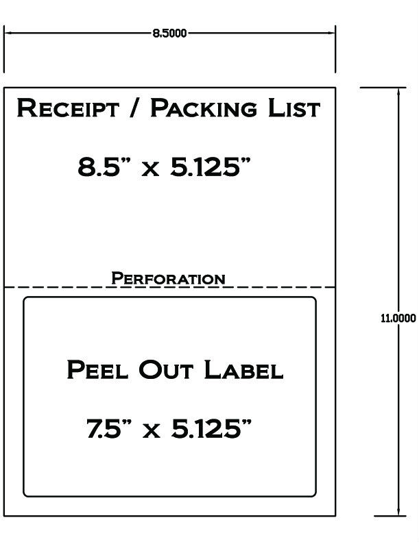 1000 Laser  Ink Jet Labels for use with FedEx, UPS, PayPal Tear Off Receipt 5127