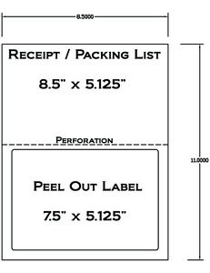 52e809855481f Details about 1000 Laser /Ink Jet Labels for use with FedEx, UPS, PayPal  Tear Off Receipt 5127