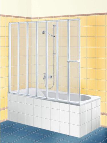 BREUER FARA Badewannenfaltwand 7-teilig 167 cm Sondermaß Echtglas Kunststoffglas