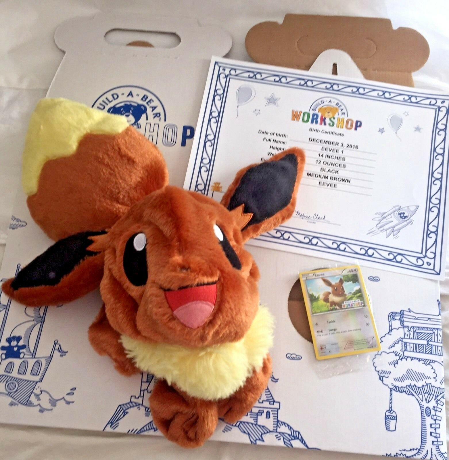 NWT Build A Bear Eevee Pokemon Go Condo Trading Card & Certificate UnStuffed Nuovo